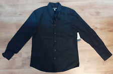 H&M Black pinstripe Slim Fit mens shirt 100% cotton Large. 41/42. New with Tags