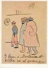 VINTAGE ART POSTCARD SIGNED By Pablo Picasso Ed 1980s Arriving In Montauban 1904