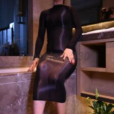 Plus Size Ladies 8D Oil Shiny Glossy Bodystocking Ultrathin Bodycon Long Dress