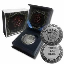 1 - 1 oz. 999 Fine Silver Round - Poker Chip Dealer Button Marker with Gift Box