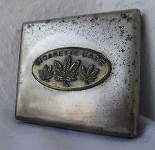 rare Marijuana leaf metal cigarette case, box - antique vintage