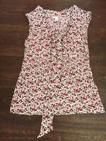 H&M 100% Cotton Top Blouse Floral UK Size 10 Good Condition