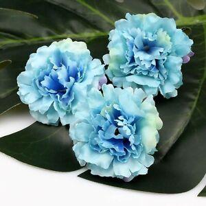 "Blue 2""-20Pcs Bulk Fake Rose Carnation Peony Bulk Artificial Silk Flowers Heads"
