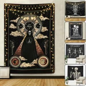 Skeleton Skull Tapestry Wall Hanging Tapestry Mandala Gothic Bedspread.Halloween