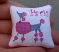 DOLLHOUSE MINIATURE ~ PINK POODLE PILLOW