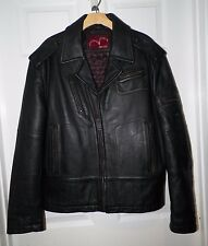 MEN'S LEVIS RED TAG BLACK LEATHER ZIP FRONT JACKET SIZE L VERY GOOD USED