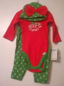 Gerber Green & Red 3-Piece Christmas Outfit Onesie, Leggings, Hat Girls Newborn