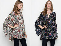 Vintage Floral Print Loose Blouse Tunic Top Long Ruffle Sleeve Boho Hippie Shirt