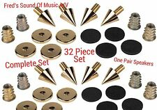 "Speaker Floor Spike Complete Kit  "" For 2 Speakers ""  Best Rated 32pc Spikes Set"