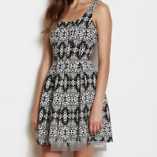 A|X Armani Exchange Black & White Jacquard Seamed Hourglass Fit & Flare Dress 4