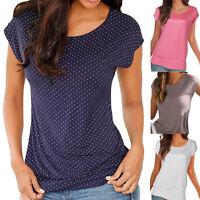 Mujer Oficina Manga Corta Para Holgado Blusa Tops Casual Verano lunares Camiseta