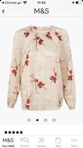 M&S Beige Natural Mix Floral Long Sleeved Blouse RRP £39.50 New Size 12