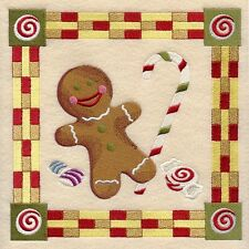 Embroidered Ladies Fleece Jacket - Gingerbread Christmas Square D2067