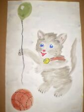 "Original Watercolour Painting - ""Kitten with Balloon & Ball ""- signed"