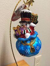 Retired Christopher Radko A Chilly Gift Snowman Christmas Ornament NIB 1017961