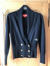Vivienne Westwood Black 100% Wool Cardigan Jumper Orb Buttons Size Small 8 10