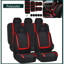 Red&Black Car Seat Covers Polyester Fabric For Auto Truck 5 Heads Full Set - NEW