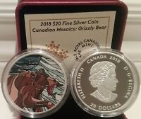 2018 Canadian Mosaics Grizzly Bear $20 1OZ Pure Silver Proof Canada Coin