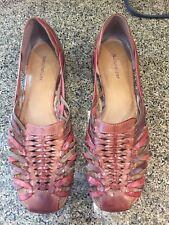 Naturalizer Women Brown Aztec Leather Slip On Sandal Flat Shoe Size 10M S124