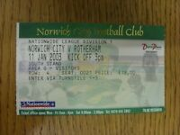 11/01/2003 Ticket: Norwich City v Rotherham United  . Thanks for viewing our ite