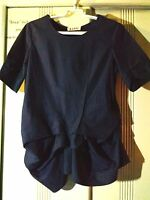 100% Genuine Marni Ruffle Navy Blue Cotton Women Blouse Top Sz 42 Made in Italy