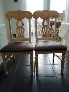 6 Solid Beech & Pine Dining chairs