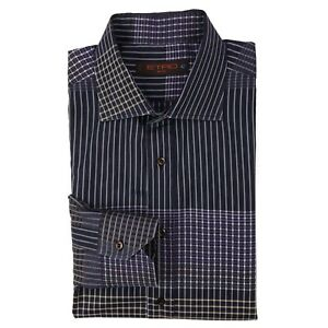 Etro Milano Shirt Large Black Multicolor Checked Check Mens Sz L 42 Cotton Italy