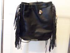 VICTORIA'S SECRET Backpack Purse Fringe 15x13 Black Faux Leather
