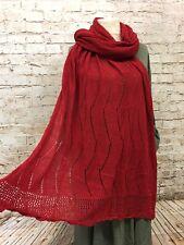 Damen XXL Ajour Herbst Schal Stola Tuch Häkel 210cm x 110cm NEU Strickschal Rot