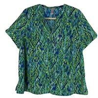 Catherines Green Blue Boho Blouse Shirt Button Front Short Sleeve Plus 2X 22/24W