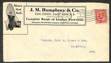 CANADA SCOTT #90 STAMP ST. JOHN N.B. J.M. HUMPHREY SHOE ADVERTISING COVER 1907