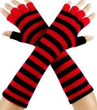 Red and Black Stripe Fingerless Gloves Arm Warmers Alternative Clothing Gothic