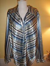 vintage Fashion Bug long sleeve dress shirt womens size 22/24 blue stripes