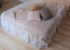 Linen Bed Skirt with Gathered Ruffles and Cotton Decking - Romantic Dust Ruffle