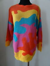 Vintage 1980s sz Small/Medium crazy colorful graphic knit cotton sweater costume