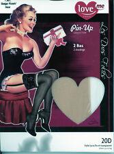 Bas jarretière LOVE ME modèle Pretty – Taille M/L – beige rosé / noir – Neuf