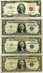 1953-A $2 STAR & 1935 / 1957 $1 STAR NOTES 4 PC. TOTAL!!!!..STARTS @ 2.99