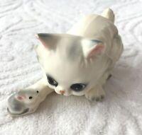 Vintage Josef Originals Persian Cat Kitten & Mouse Porcelain Figurine CHIPPED