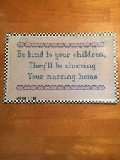 Handpainted Needlepoint Canvas Saying-Be Kind to Your Children