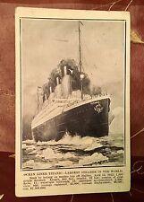 RARE ILLUSTRATED TITANIC POSTCARD APRIL 21, 1912 POSTMARK STAMP WHITE STAR LINE