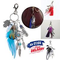 Bohemian Keyring Keyholder Feather Dream Catcher For Women Keychain Gypsy Gift