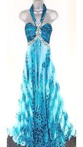 Exquisite Scarlett Blue Halter Embellished Evening Occasion Prom Maxi Dress 6
