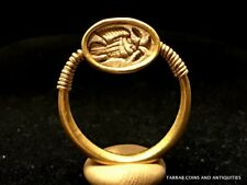 ANCIENT EGYPTIAN GOLD AND STEATITE SCARAB FINGER RING; NEW KINGDOM 1550-1292 BC!