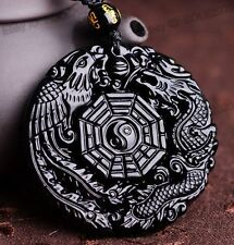 Natural Obsidian Carved Chinese Dragon Phoenix BaGua Lucky Pendant free Necklace