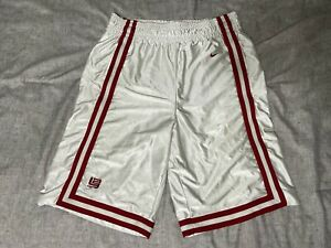 Rare Vintage Nike Lebron Basketball Dazzle Shorts Heavy Shiny White M (fits L+)
