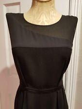 DKNY LBD Black Crepe Stretch Silk + Sheer Sleeveless Career Date Dress SZ 8 EUC