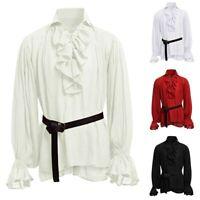 Men Medieval Renaissance Pirate 18th Century Duke Long Sleeve Shirt Tops Blouse