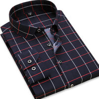 New Mens Formal Casual Plaids Business Slim Long Sleeve Dress Shirts 6443