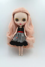 """12"""" Blythe Doll from factory Nude Doll Long Pink curly hair + matte face"""