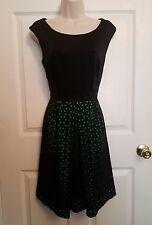 NWOT SANDRA DARREN Black / Green Laser Cut Fit & Flare Dress, Size 6